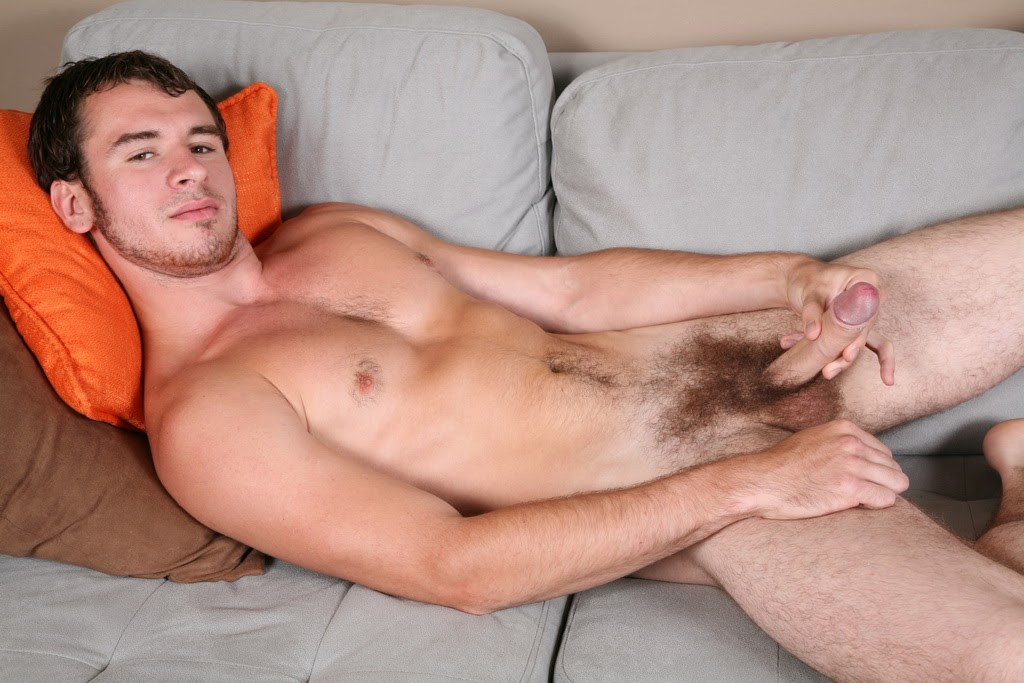 Hairy lad naked on bed