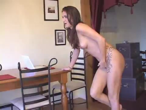 Naked girl has to pee