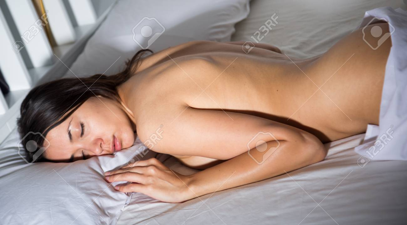 Naked girls and women sleeping on the bed